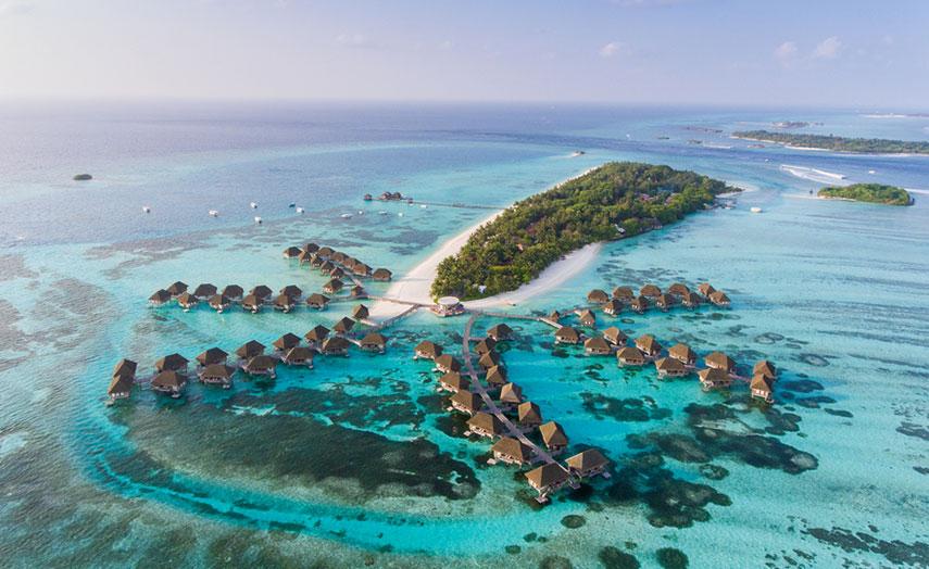 Malediven Ferien Insel Aerial