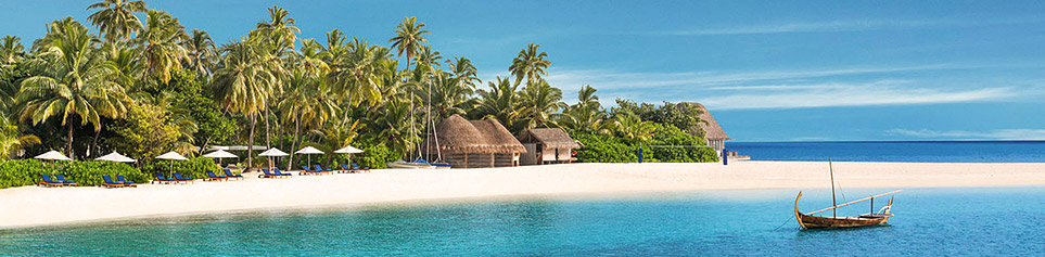 Malediven Insel mit Palmen und Strand