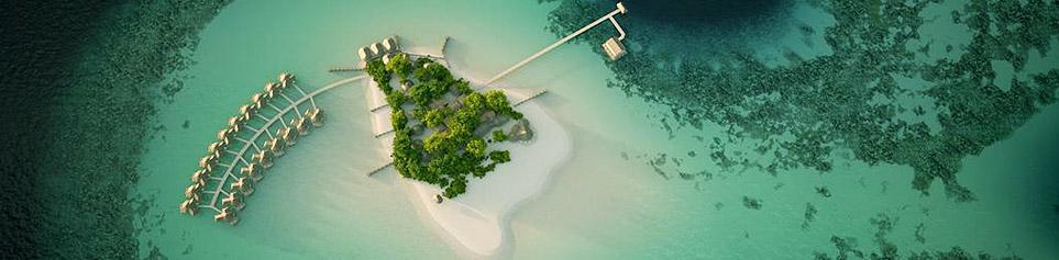 Malediven Mittelklasse Hotel aus der Luft